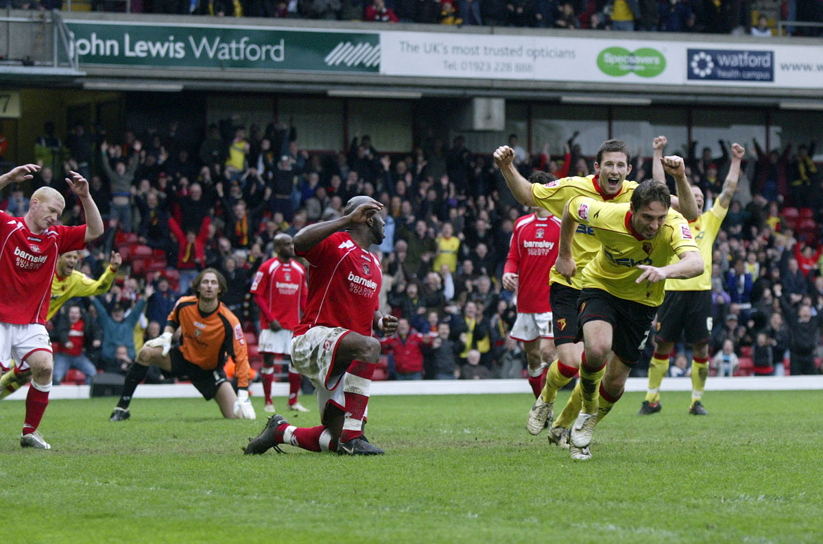 Tommy Smith celebrates scoring for Watford against Barnsley. Picture: Action Images