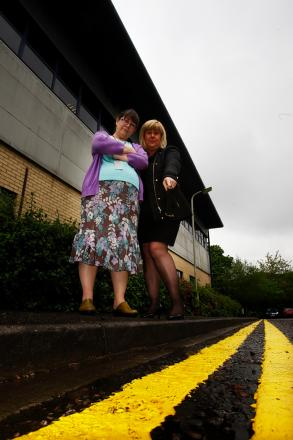 Linda Geddes and Mandy Williams - two of many Watford Business Park workers angry at changes made to parking this week