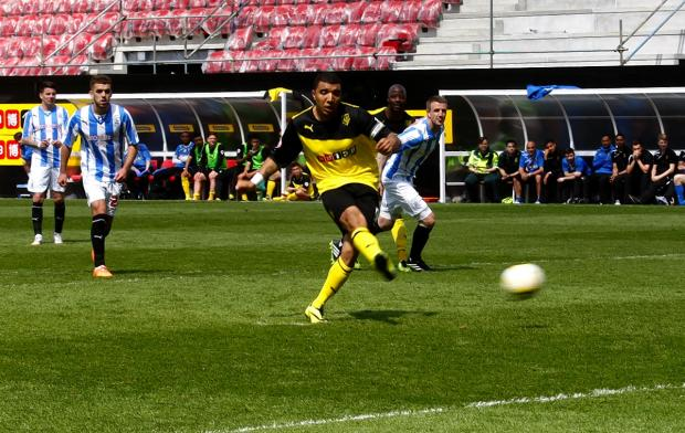 Troy Deeney scores from the penalty spot. Picture: Holly Cant.