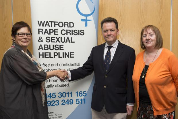 Left to right: chair of Watford Rape Crisis Rachael Bucknill, David Lloyd and treasurer of the charity Frances LeHane.