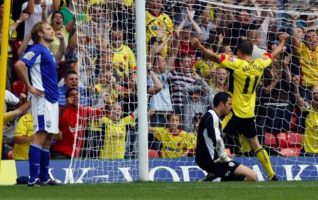 Heidar Helguson celebrates on his return to Watford in 2009. Picture: Holly Cant