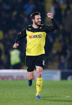 Marco Cassetti celebrates his only Watford goal. Picture: Action Images