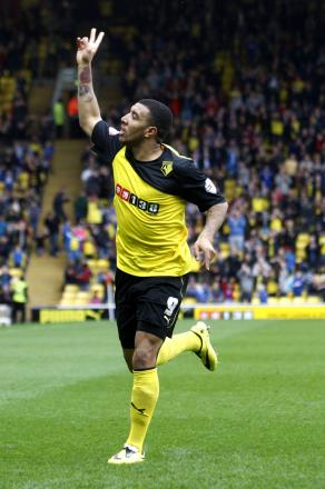 Higher: Likes of Burnley would have to bid more than the current figures being reported if they want to secure Troy Deeney's services. Picture: Holly Cant