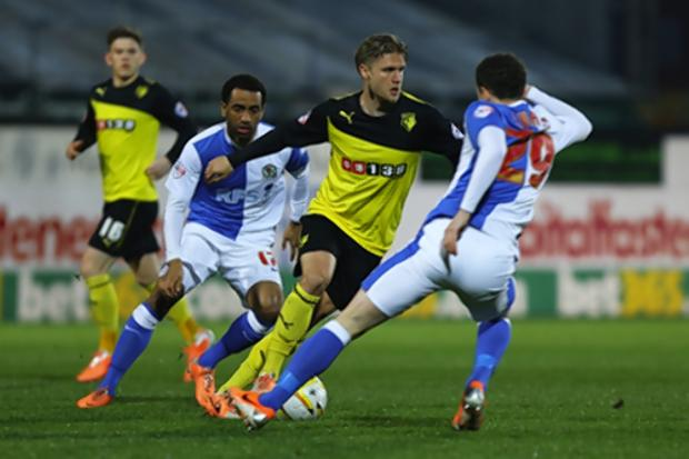 Merkel in action for Watford FC against Blackburn Rovers