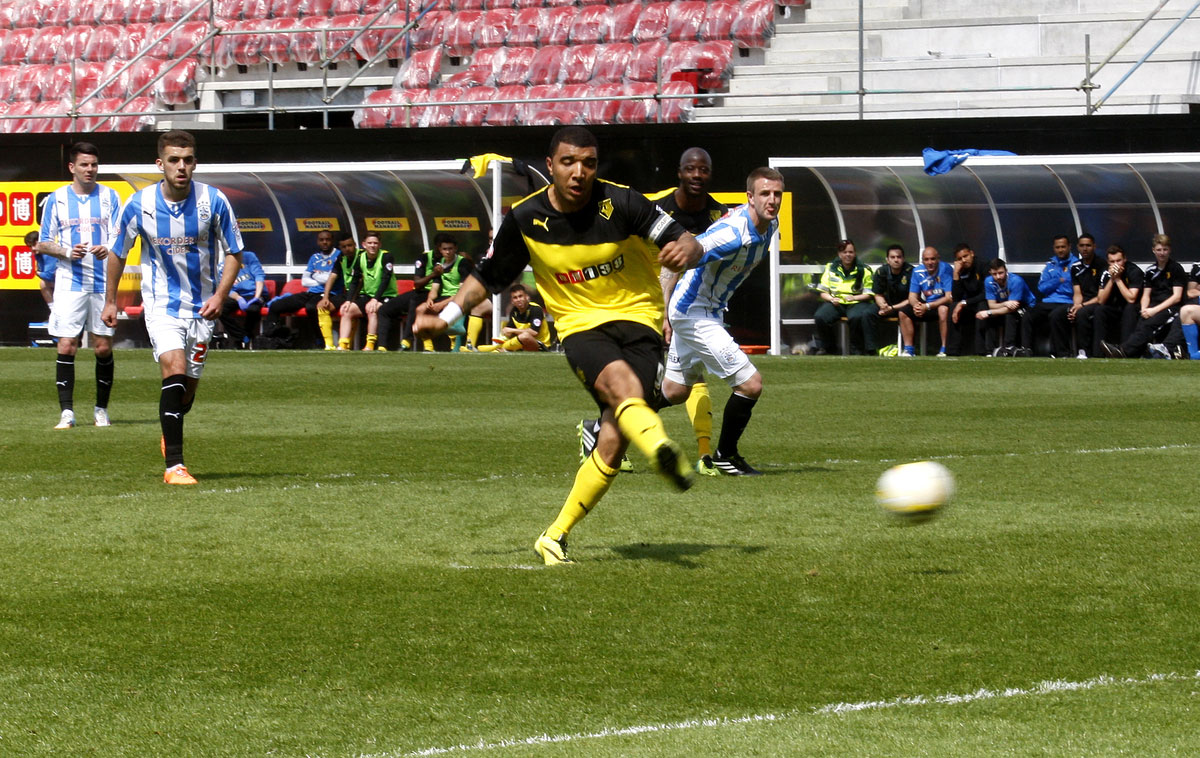 Troy Deeney scored his 25th goal of the season against Huddersfield Town. Picture: Holly Cant