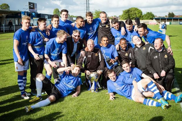 Wealdstone celebrating their Ryman Premier title. Picture: Steve  Foster/Wealdstone FC