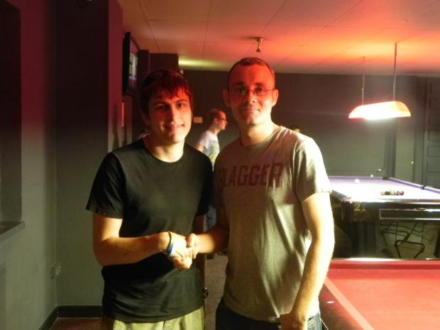 Snooker pro Martin Gould is pictured with Watford Mencap potting champ Paul Whenman