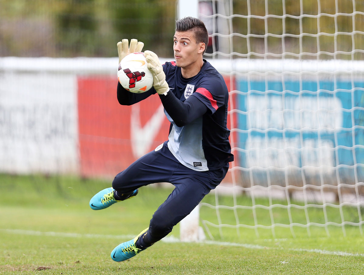 Jonathan Bond in training with England Under-21s. Picture: Action Images