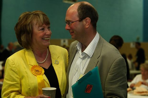 Dorothy Thornhill with her husband Councillor Iain Sharpe at the count