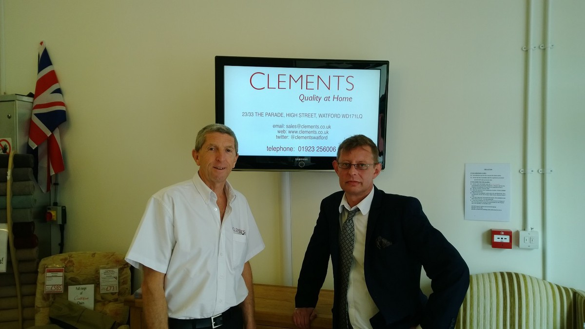 Alan Brooks, Director of Clements with Ian Port, Interim Director of W3RT Connect Clements. The Parade, High Street, Watford.