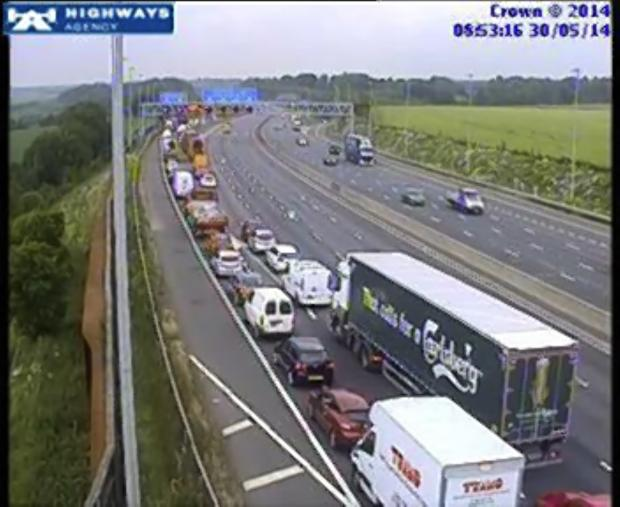 Queues on the M25 anticlockwise at Junction 17