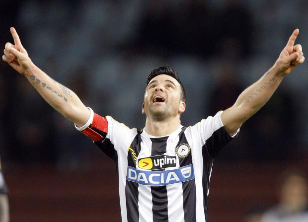 Udinese forward Antonio Di Natale, who has recently shelved retirement plans. Picture: Action Images