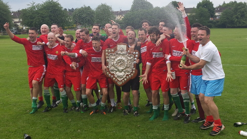Champagne time: Bedmond celebrate their title triumph after beating Standon and Puckeridge 4-2 in their final game of the season on Saturday.