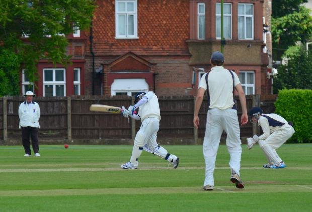 West Herts, batting, look to go on the attack in their Championship victory over Knebworth Park on Saturday. Picture: Len Kerswil