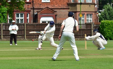 Holders West Herts (batting) in league action against Knebworth Park on Saturday.