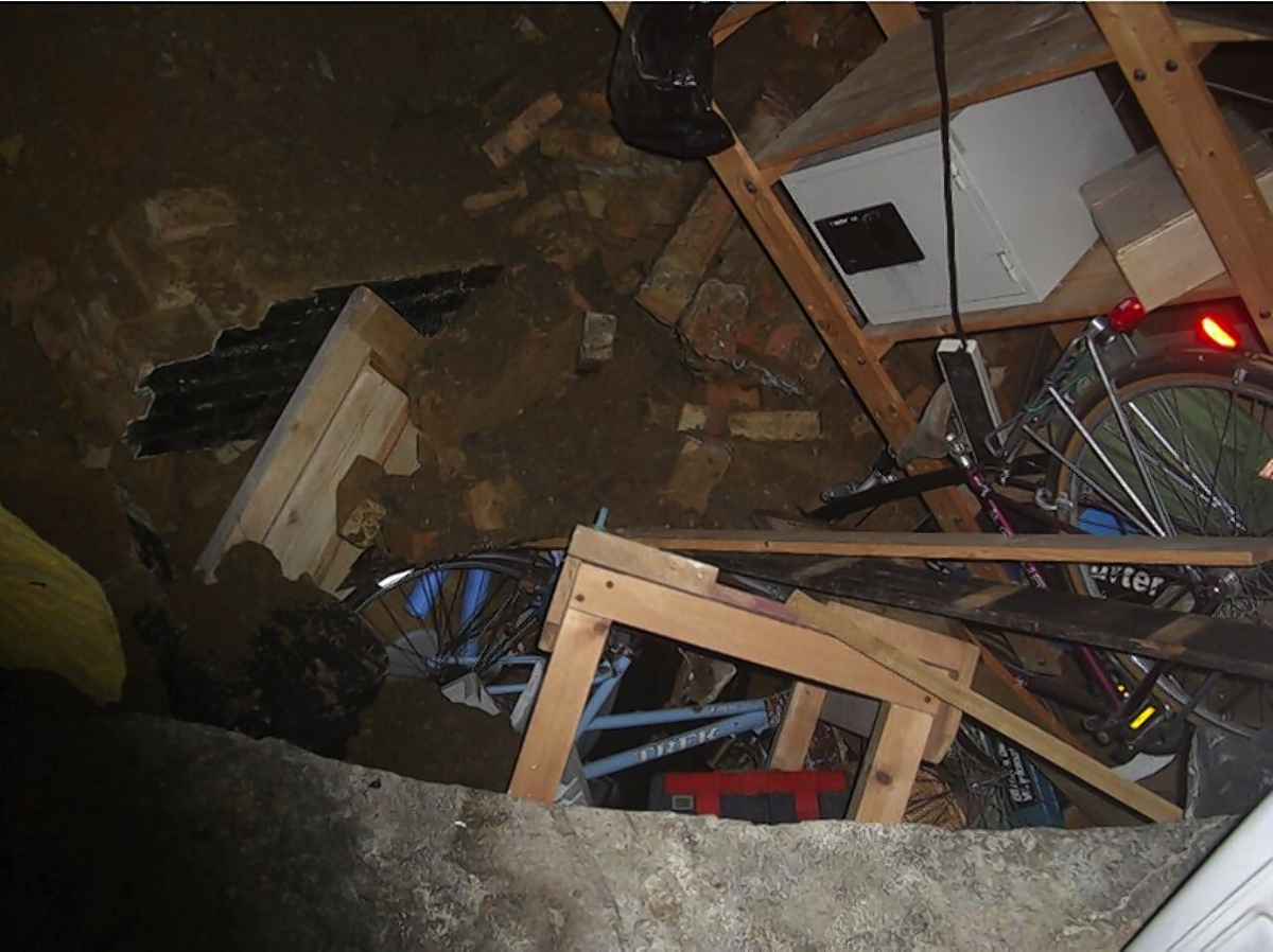 Thieves climbed through a sink-hole to burgle the property