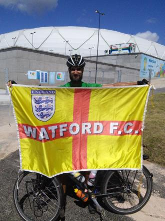 Fundraising Andy Smith tops off cycle tour of Brazil, having collected thousands of pounds