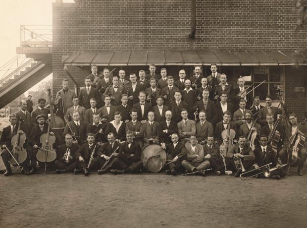 The orchestra of the German interment camp at Ruhleben racecourse