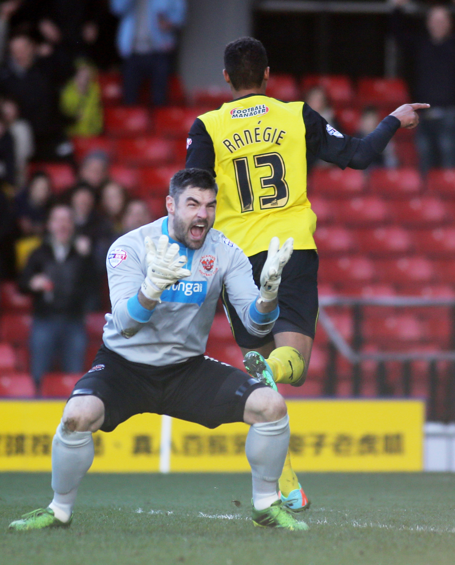 Matt Gilks during Blackpool's heavy defeat to Watford last season. Picture: Action Images