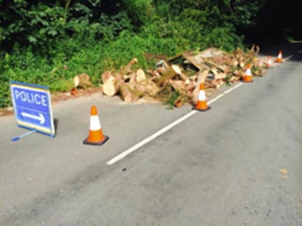The fly-tipped debris.