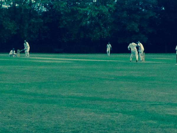 Kings Langley (batting) chase down the Bushey total. Picture: Tom Bodell