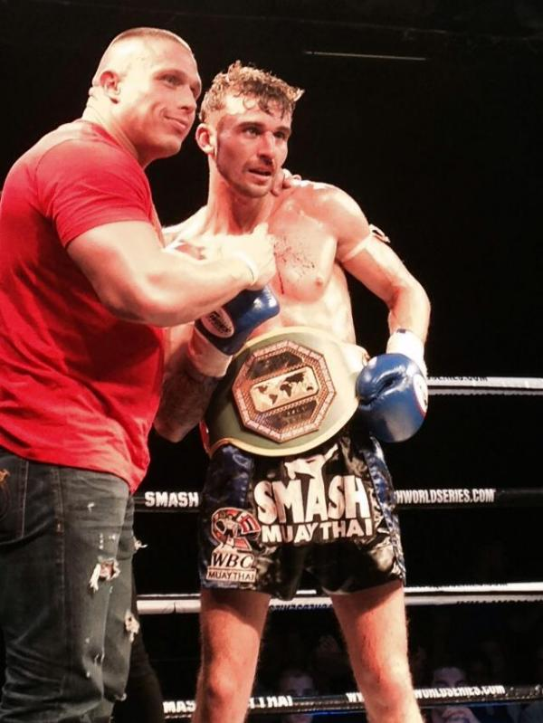Daniel Bowie (right) with the WBC International Challenge Championship belt.