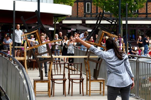 An earlier arts performance in The Parade as part of the launch of Watford's Big Event last month