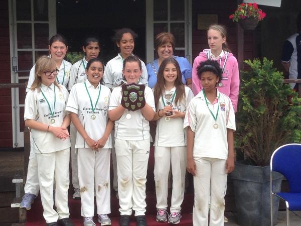 The winning Abbots Langley and Watford Under-13s girls side.