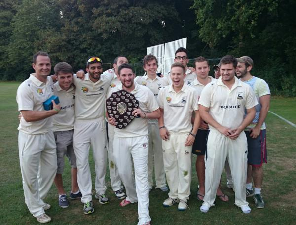 Radlett celebrate their Shield triumph.