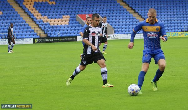 Cristian Battocchio in action against Shrewsbury Town. Picture: Alan Palmer