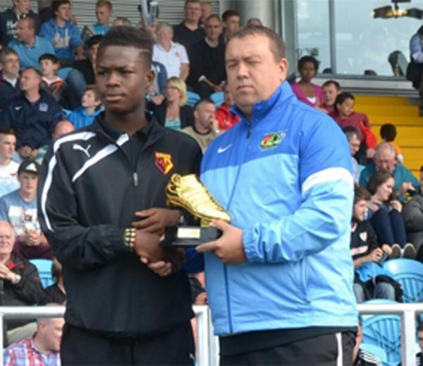 Ogo Obi collecting his Golden Boot trophy at last summer's Milk Cup. Picture: Milk Cup.