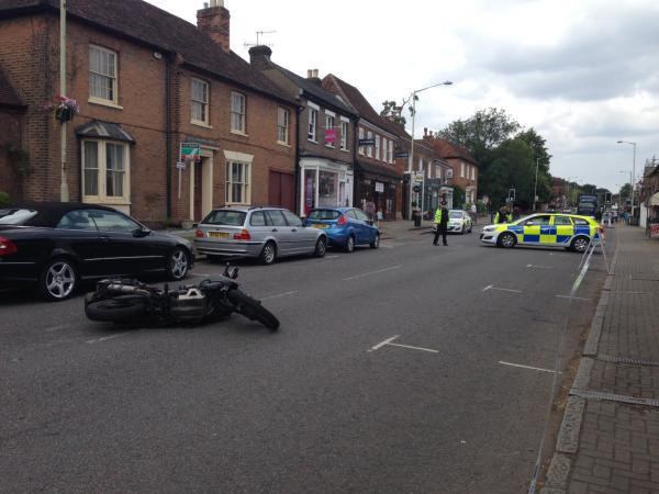 Elderly woman taken to hospital following accident with motorbike