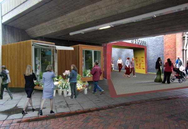 Watford Market: first 14 shipping containers arrive