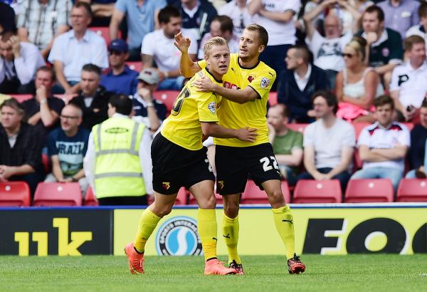 Matej Vydra was back among the goals at Vicarage Road this afternoon. Picture: Action Images