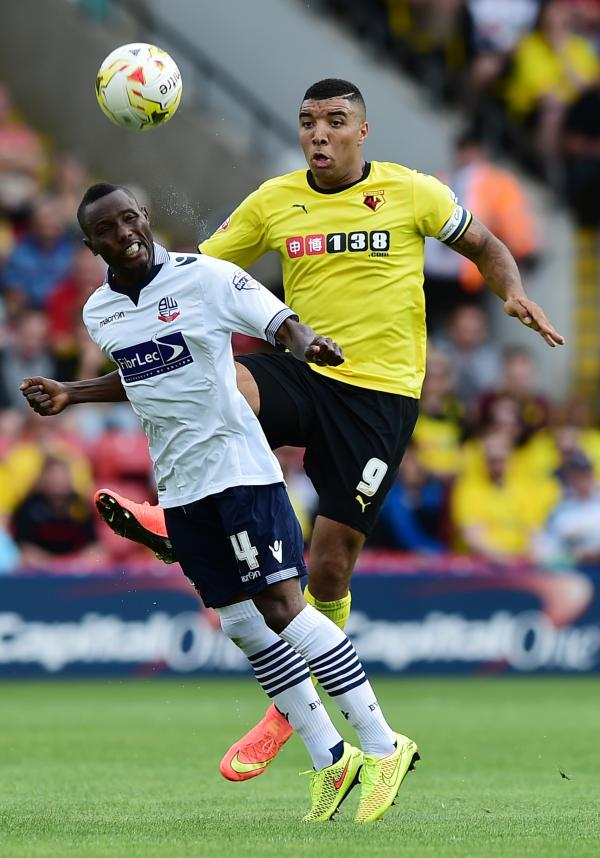 Hornets striker Troy Deeney opened the scoring against Bolton. Picture: Action Images