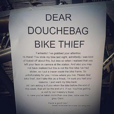 Commuter's note to 'douchebag bike thief' becomes internet sensation