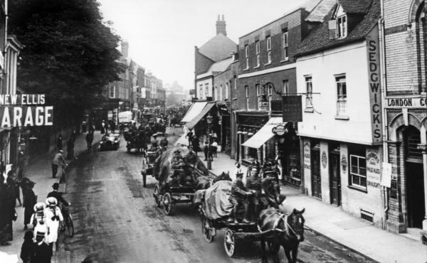 Cavalry, infantry and artillery were to become familiar sights during the Great War, as this Watford High Street picture shows.