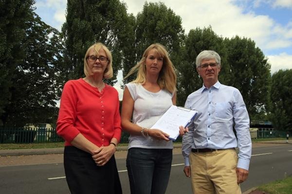 Residents Adele Taylor, Katie Smith, Granville Taylor with their Bushey Mead School petition