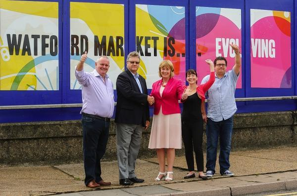 Gary Hickman, Market grocer, Malcolm Ball, CEO of Town and Country Markets, Elected Mayor Dorothy Thornhill, Jane Custance, Head of Regeneration and Development for Watford Borough Council, Grant Adams, Chairman of the market traders