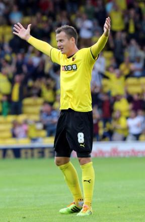 Daniel Tozser scored his first Watford goal with a thumping long-range free-kick. Picture: Dave Peters