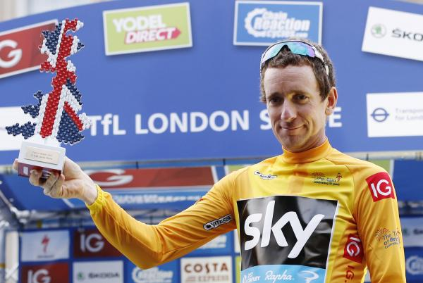 Sir Bradley Wiggins celebrating his victory in last year's Tour of Britain. Picture: Action Images