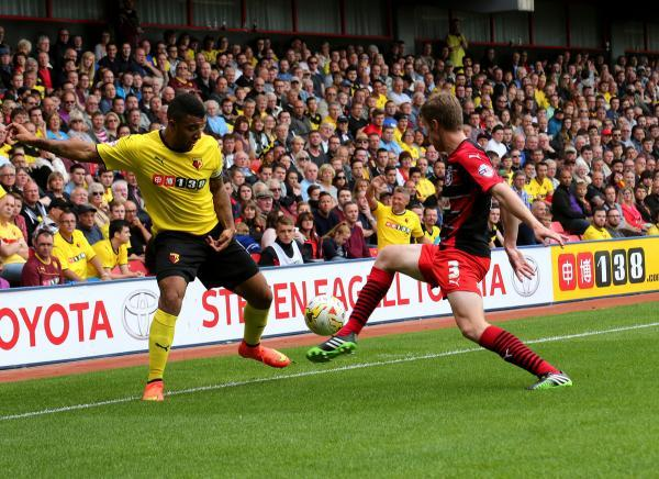 Troy Deeney in action against Huddersfield Town on Saturday. Picture: Holly Cant