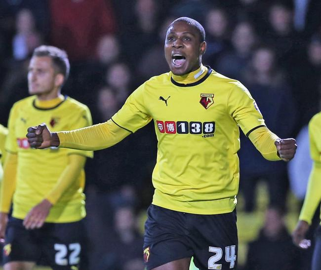 Odion Ighalo celebrates his third goal in as many games. Picture: Dave Peters