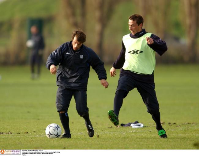Gianfranco Zola and Slavisa Jokanovic during a training session at Chelsea. Picture: Action Images