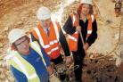 Robin Bowles, councillor Chris Whately-Smith and leader of the council Ann Shaw at the site of the refurbishment