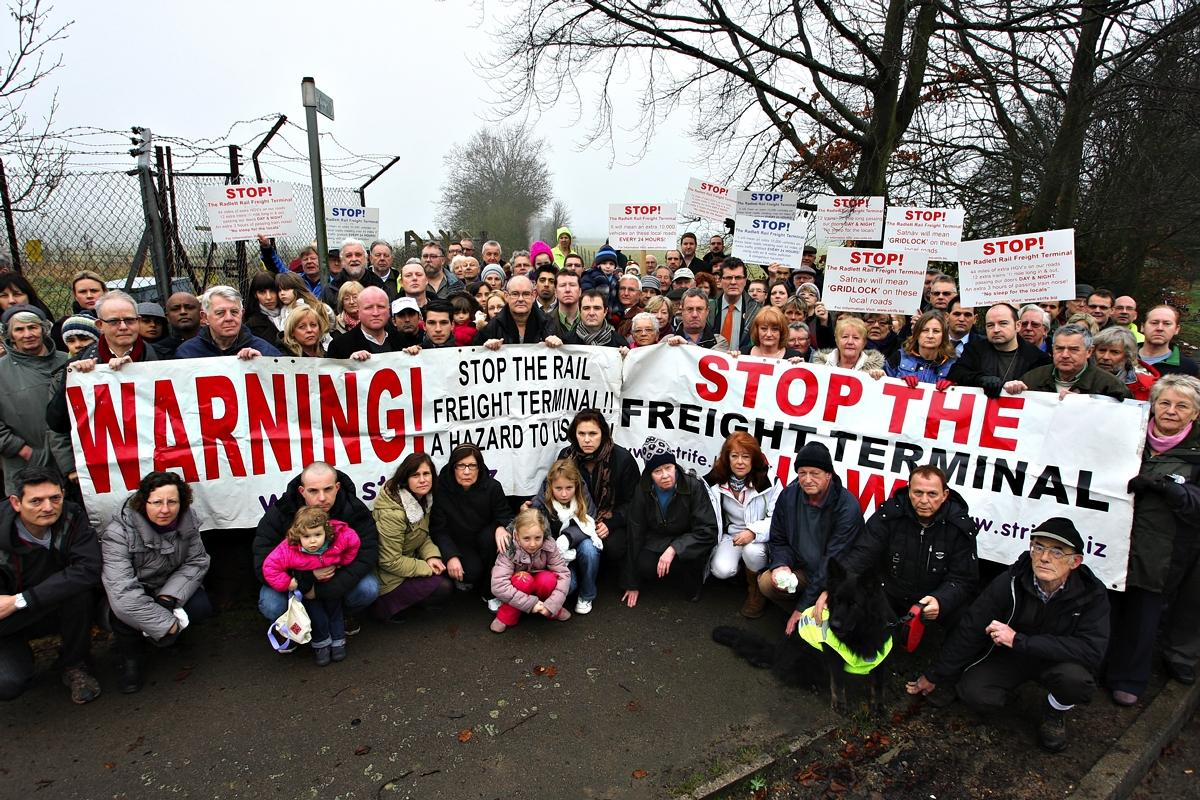 Campaigners fighting to stop the rail freight in 2013