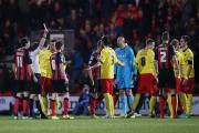 Watford defender Gabriele Angella was sent off in the opening minute tonight. Picture: Action Images