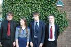 Sixth formers Zach Griffin, Andrew Lawrence, Louis Dunham and Sophie Baldwin