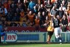 Benik Afobe opening the scoring for Wolverhampton Wanderers. Picture: Action Images