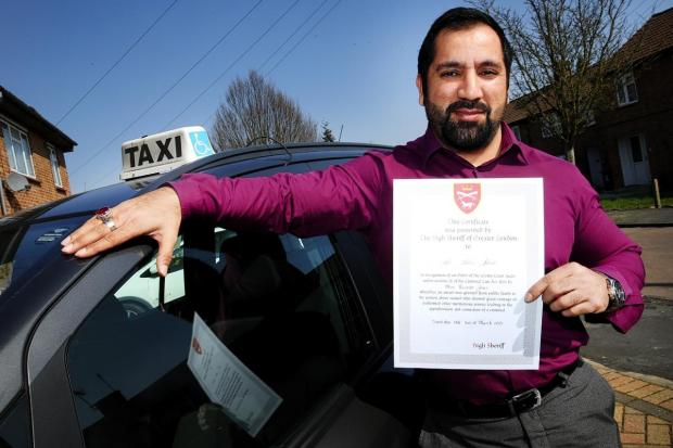 Hero cabbie who pulled pregnant woman and baby from burning car wreck in Watford honoured with bravery award